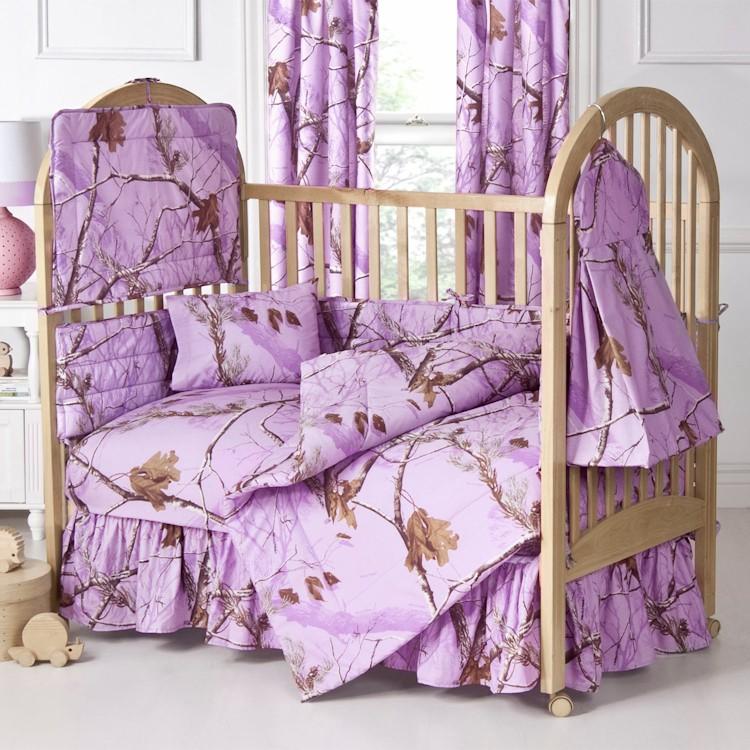 Lavender Camo Baby Bedding, Pretty Baby Crib Bedding